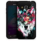 DeinDesign Silikon Hülle kompatibel mit Samsung Galaxy J3 2016 Case schwarz Handyhülle Riza Peker Wolf bunt