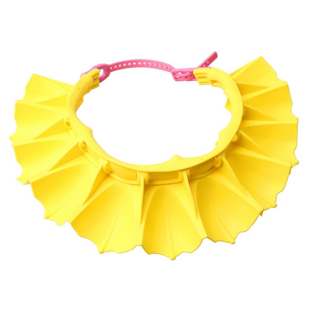 SUMAJU Baby Shower Cap, Waterproof Silicone Shower Cap Adjustable Shampoo Shower Cap Hat for Toddler Children (Yellow)