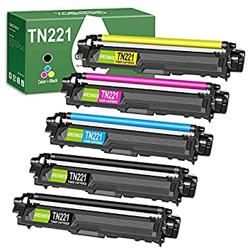 GREENBOX Compatible Toner Cartridge Replacement for Brother TN221 TN225 TN-221 TN-225 for Brother MFC-9130CW HL-3170CDW HL-3140CW MFC-9330CDW Printer  2 Black 1 Cyan 1 Yellow 1 Magenta