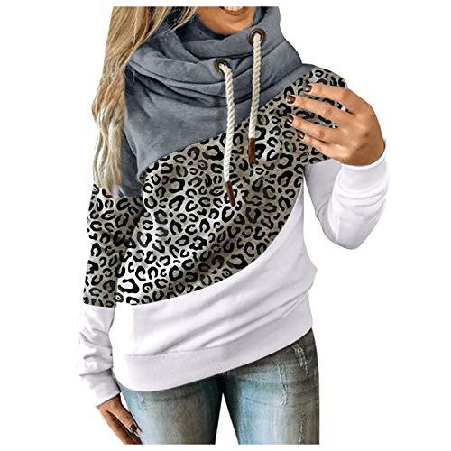 MINYING - Sudadera con capucha para mujer, talla grande, manga larga, otoño e invierno, informal, cálida, de algodón con contraste sólido, para mujer 02- Gris L