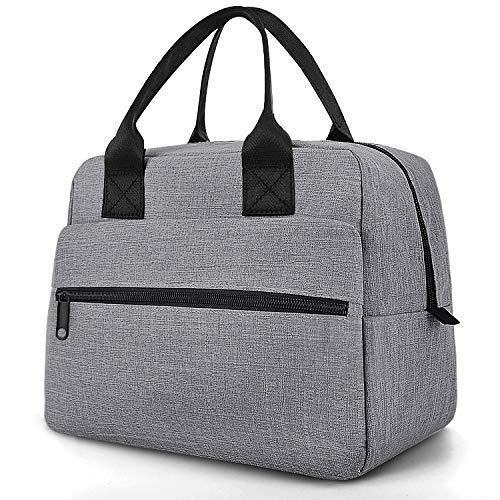 Easyfun Kühltasche lunchtasche thermotasche für Damen und Herren kühltasche klein für die Arbeit wasserdichte isoliertasche für Camping, Picknick, die Arbeit und Schule - Grau