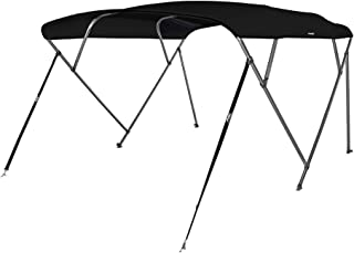 4 Bow Bimini Top Boat Cover with Rear Support Pole and Storage Boot, Color Grey, Burgundy,Navy,Beige,Pacific Blue,Black,Forest Green Available