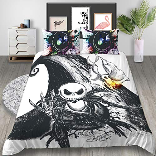 Nightmare Before Christmas Bedding Set, 3D Cartoon Halloween Skull Duvet Cover Set with Pillowcases Single/Double/King Size Kids Adult Soft Bedding Set for Winter Autumn Summer (200x200-3pcs,2)