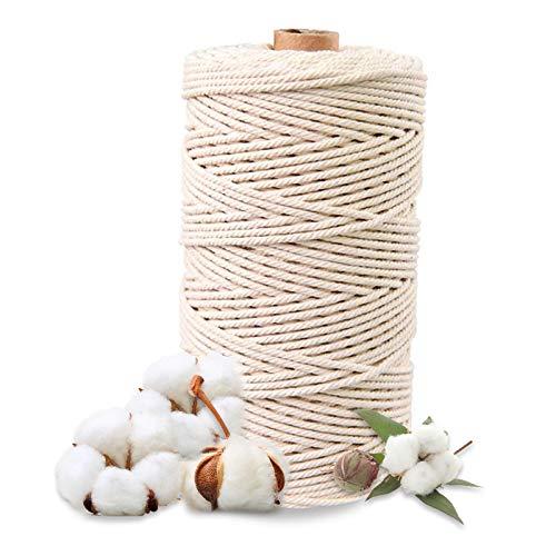 Hecha a Mano Craft Cuerda,Cordel de Algodón,natural trenzado algodon,Hilo Macramé,para Envolver Regalo Navidad Colgar Fotos Manualidades Costura (200M-2mm)