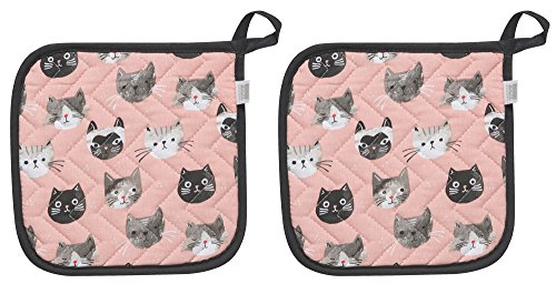 Now Designs 803889aa Basic Potholder, Set of Two, Cats Meow