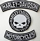 Generico Set 3 Toppe Patch Grandi Arco Harley Davidson - Motorcycles + Skull Argento