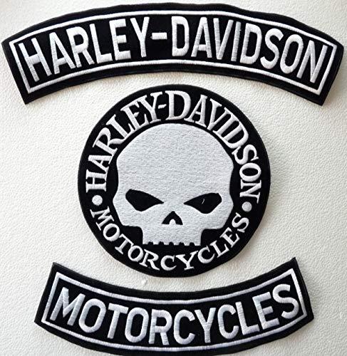 Generico, Set mit 3 großen silberfarbenen Aufnähern in Bogenform mit den Schriftzügen Harley Davidson + Motorcycles + 1 Totenkopf