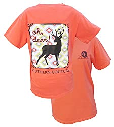 Southern Couture Womens Oh Deer Short-Sleeve Tee Shirt