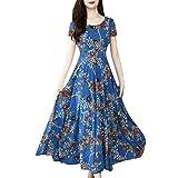 Julhold Femmes Mode D'été O-Cou Cheville-Longueur À Manches Courtes Impression Robe Longue(Bleu,XL)
