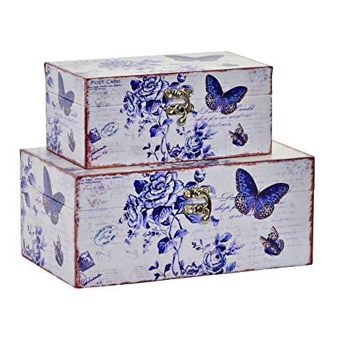Item International Cajas de Madera Decoradas Set 2 Diseño Vintage Decoración Flores Mariposas Pajaros (23X15X10) Color Azul
