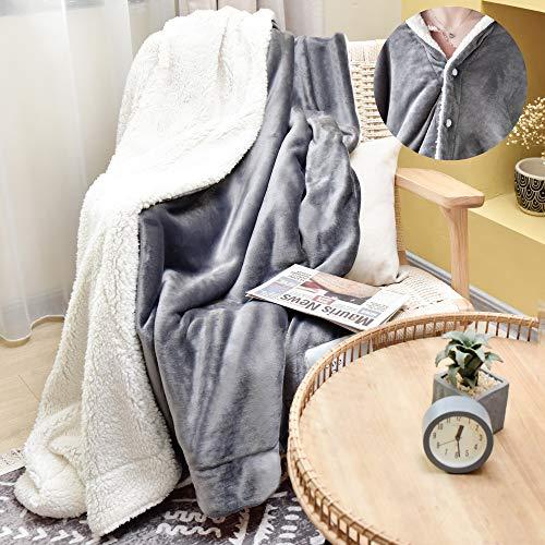 JS HOME Wearable Thicken Fleece Blanket Throw Lightweight Super Soft Cozy Luxury Bed Blanket Microfiber Bed Blanket Grey 60quotx 80quot
