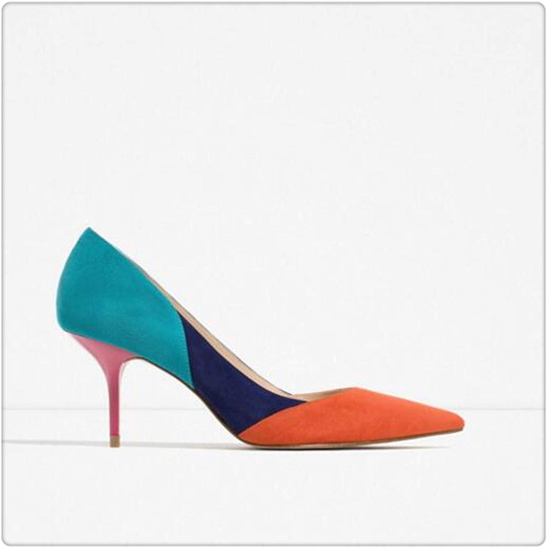 66acfc2ced16e Mixed color Women High Heels shoes 7cm Female Simple Women Pumps ...