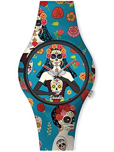 Doodle Watch Damenuhr Santa Muerte Mood Tattoouhr Totenkopf Skull Blumen Blau DO35011