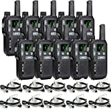 Retevis RB618 Walkie Talkie con Auriculares PMR446 Luz LED sin Licencia Doble PTT Squelch VOX Walkie-Talkie LCD Recargable Mini CTCSS/DCS Tot 2 Way Radio (10 Piezas, Negro)