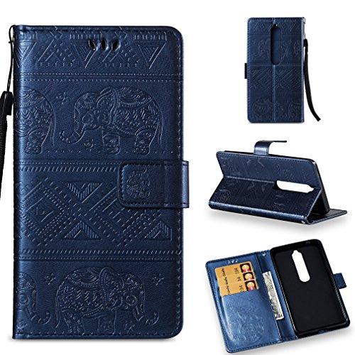 LMFULM® Hülle für Nokia 6.1 / Nokia 6 2018 (5,5 Zoll) PU Leder Magnet Brieftasche Lederhülle Elefant Prägung Design Stent-Funktion Handyhülle für Nokia 6.1 / Nokia 6 2018 Dunkelblau