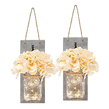 HOMKO Mason Jar Sconce with LED Fairy Lights and Flowers - Rustic Hanging Mason Jar Light Wall Decor Farmhouse Home Decoration (Set of 2)