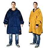 Catalonia Oversized Hoodie Blanket Sweatshirt,Super Soft Warm Comfortable Sherpa Giant Pullover with Large Front Pocket,for Adults Men Women College Teenagers Kids,Blue