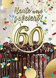 bentino Geburtstagskarte XL mit leuchtenden'KERZEN' zum AUSPUSTEN, Spielt den Song'Happy Birthday', DIN A4 Set mit Umschlag, Glückwunschkarte zum 60. Geburtstag, Grußkarte'Great Cards'