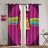 DONEECKL Youth Blackout Curtain Liner Young Beauty in an Abstract Dress on Big Pink Dots Wavy Stripe...