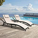 GUNJI Chaise Lounge Chairs for Outside Patio Adjustable Lounge Chairs Set of 3 Outdoor Wicker Rattan Pool Chaise Lounge Chairs Cushioned Poolside Folding Chaise Lounge with Table (Beige)