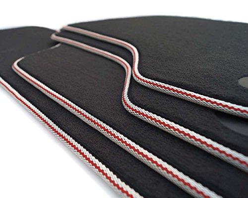 kh Teile Lot de 4 tapis de sol en velours pour A3 S3 avec bordure blanche et rayures rouges