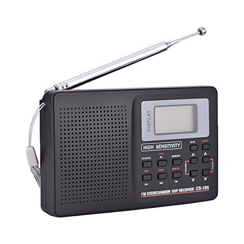Lazmin112 Radio portátil, Receptor de frecuencia Completa de Sonido FM/Am/SW/LW/TV Recargable y liviano con función de Reloj y Alarma con Auriculares(Paso de sintonización 9K)