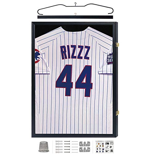 IHEIPYE Jersey Display Case, Jersey Frame Large Shadow Box Lockable with 98% UV Protection Acrylic and Hanger for Baseball Basketball Football Soccer Hockey 2XL Sport Jersey Shirt,Black