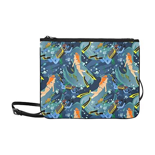 Handtasche Cartoon Tauchen Extremsport Sea Pet Verstellbarer Schultergurt Clutch Bag Reißverschluss Für Frauen Mädchen Damen Umhängetasche Unisex Fun Handtaschen