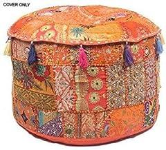 "GANESHAM Indian Hippie Vintage Cotton Floor Pillow & Cushion Patchwork Bean Bag Chair Cover Boho Bohemian Hand Embroidered Handmade Pouf Ottoman (Orange, 13"" H x 22"" Diam.(inch))"