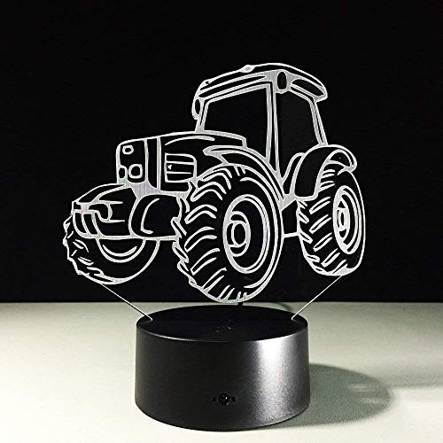 3D Illusion Night Light, Motor Tractor Car 3D Deco Light Forma de automóvil USB Charge Touch Switch Lamp Colorful Kids Night Light para Farm Deco Ship