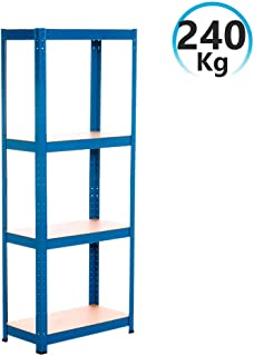 Rdm Estantería Metálica Azul con 4 Baldas Ajustables 148x60x30cm 240Kg