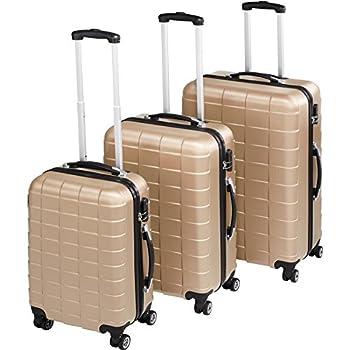 TecTake Set de 3 valises de Voyage de ABS   avec Serrure à Combinaison intégrée   poignée télescopique   roulettes 360° - diverses Couleurs au Choix (Champagne  no. 402674)