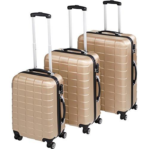 TecTake Set 3 Piezas Maletas ABS Juego de Maletas de Viaje Trolley Maleta Dura | 4 Ruedas de 360º | 2 Mangos y un asa telescópica (Champán | no. 402674)