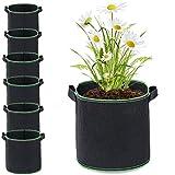 puliao Juego de 6 bolsas de tela no tejida, para plantar tomates, patatas, flores, plantas, 10 galones
