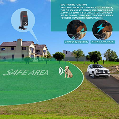 JUSTPET Wireless Dog Fence Vertical Pet Containment System, Vibrate/Electric Shock/Beep Wireless Fence Dog Container, Control Range 1000 Feet Consistent Signal No Randomly Correction