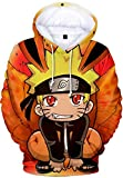 PANOZON Sudadera Niños con Capucha Impresa de Naruto Anime Chaqueta con Bolsillo Mangas Largas (XS, Dibujos Animados-5)