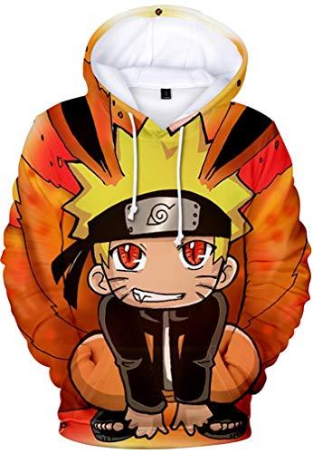 PANOZON Sudadera Niños con Capucha Impresa de Naruto Anime Chaqueta con Bolsillo Mangas Largas (XXS, Dibujos Animados-5)