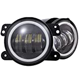 4 inches Led Fog Lights with Halo Ring for Wrangler JK Led Fog Lamps Bulb Auto Len Projector with Angle Eye DRL...