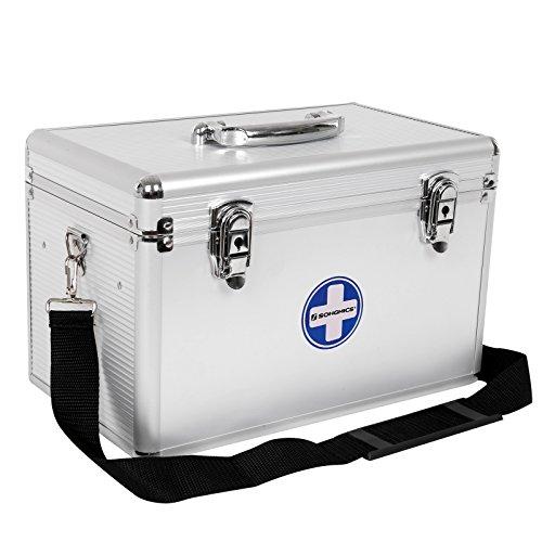 SONGMICS Erste Hilfe Koffer Medizin-Box Aufbewahrungsbox Medikamentenbox Arzneimittel-Box Medizinbehälter mit Tragegriff Tragegurt Aluleisten ABS silbrig JBC362S