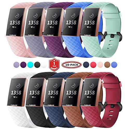 FunBand für Fitbit Charge 3/Charge 4 Armband,Klassisch Verstellbares Ersatz weiches Silikon Sporty Wrist Strap Band Armbanduhr Uhrenarmband Schlaufe Armbänder für Fitbit Charge 3/Charge 4 Smartwatch