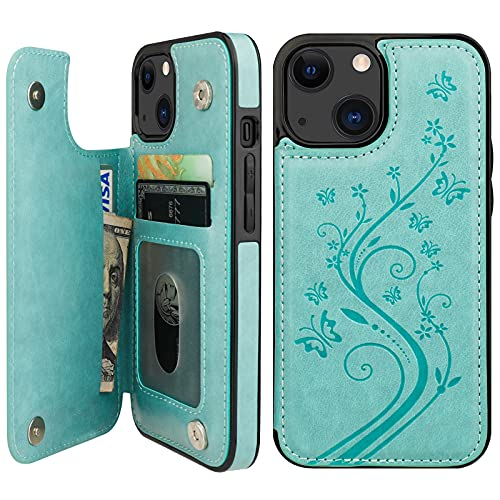 Vaburs Compatible with iPhone 13 Case Wallet with Card Holder, Embossed Butterfly Pattern PU Leather Double Buttons Flip Shockproof Protective Cover for Magnetic Car Mount 6.1 Inch (Green)