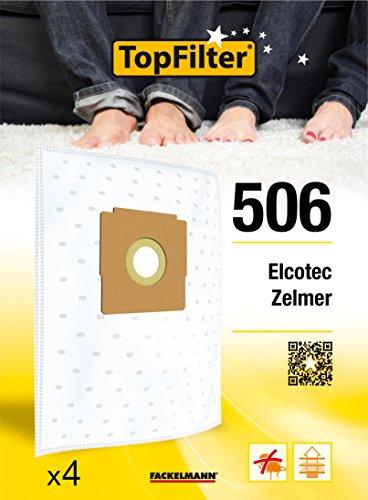 TopFilter 506, 4 sacs aspirateur pour Elcotec et Zelmer boîte de sacs d'aspiration en non-tissé, 4 sacs à poussière (30 x 26 x 0,1 cm)