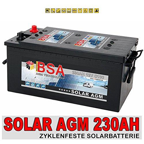 AGM Solarbatterie 230Ah Versorgungsbatterie Wohnmobil Boot Batterie ersetzt 200Ah 220Ah