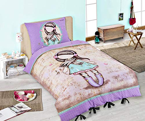 Halantex Santoro Gorjuss - Juego de cama (funda nórdica: 140 x 200 cm, funda de almohada: 70 x 90 cm, 100% algodón), color morado y beige