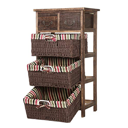 CellDeal 2 drawers 3 baskets Nature Wooden Frame Wicker Basket Drawer Storage Unit Brown Wooden Wicker Maize Basket Storage Large Chest