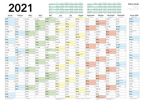 Edition Seidel Wandkalender Jahresplaner 2021 Kalender Wandplaner 13 Monate mit Ferien Jahreskalender Mondphasen (DIN A3 gefalzt, 1 Kalender)