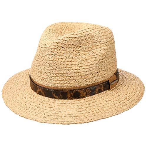 Stetson Sombrero de Rafia Riverton Traveller Hombre - Verano Sol con Banda Piel, Grosgrain Primavera/Verano - S (54-55 cm) Natural