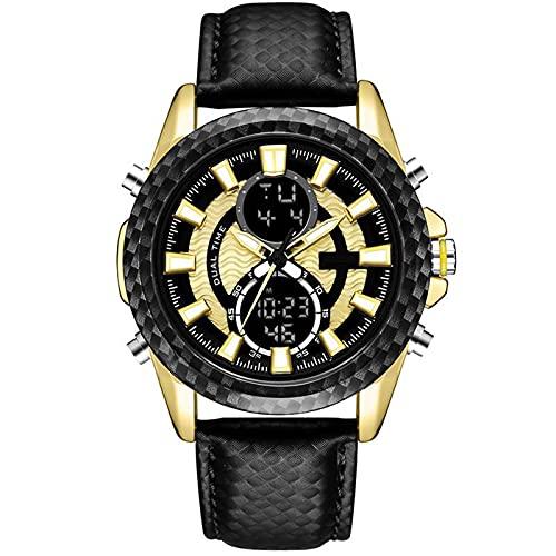 WNGJ Reloj Deportivo Cuero Impermeable al Aire Libre Multifunción Multifunción Luminoso Digital Dual Pantalla electrónica, Reloj de Estudiante de Deportes a Prueba de GOL Gold