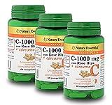 Vitamina C 1000 mg.+ Cúrcuma Nature Essential Plus – Con Vitamina C microencapsulada, Vitamina C de extracto seco de Rose Hips (Rosa canina) y C. (Pack 3 unid)