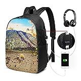 WEQDUJG Mochila Portatil 17 Pulgadas Mochila Hombre Mujer con Puerto USB, Volcán Teide Mochila para El Laptop para Ordenador del Trabajo Viaje
